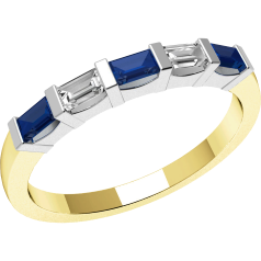 Sapphire and Diamond Ring for Women in 18ct yellow and white gold with 3 baguette cut sapphires and 2 baguette cut diamonds, all in a bar setting