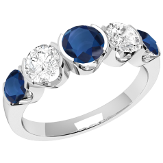 Inel cu Safir si Diamant Dama Aur Alb 18kt cu 3 Safire Rotunde si 2 Diamante Rotund Briliant