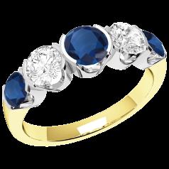 RDS364YW - 18kt Gelb- und Weissgold Ring mit 3 runden Saphiren und 2 runden Brillanten in Semi-Zargenfassung