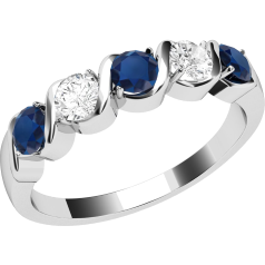 Sapphire and Diamond Ring for Women in 9ct white gold with 3 round sapphires and 2 round brilliant diamonds