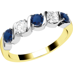 Sapphire and Diamond Ring for Women in 9ct yellow and white gold with 3 round sapphires and 2 round brilliant diamonds
