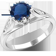 RDS375W-Inel cu Safire si Diamante Mici pe Lateral Dama Aur Alb 18kt cu un Safir Rotund Briliant in Setare Gheare si Diamante Rotunde pe Lateral
