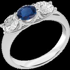 Inel cu Safir si Diamant Dama Aur Alb 18kt cu 2 Diamante Rotund Briliant si un Safir Rotund in Setare Gheare
