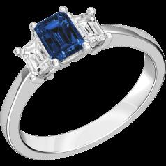 RDS388W - 18kt Weissgold Ring mit 2 Smaragd-Schliff Diamanten und einem Smaragd-Schliff Saphir in der Mitte, alle in Krappenfassung