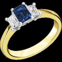 RDS388YW - 18kt Gelb- und Weissgold Ring mit 2 Smaragd-Schliff Diamanten und einem Smaragd-Schliff Saphir in der Mitte, alle in Krappenfassung