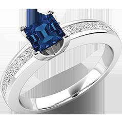Inel cu Safir si Diamant Dama Aur Alb 18kt cu un Safir Forma Patrata in Setare Gheare si Diamante Princess in Setare Canal
