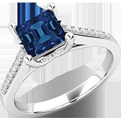 Inel cu Safir si Diamant Dama Aur Alb 18kt cu un Safir Forma Patrata si Diamante Rotunde Briliant