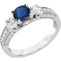 Sapphire and Diamond Ring for Women in 18ct white gold with a round sapphire centre and round brilliant cut diamonds either side and on the shoulders