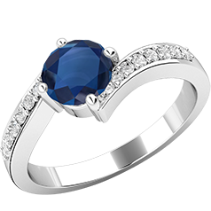 RDS409W-Inel cu Safir si Diamante Mici pe Lateral Dama Aur Alb 18kt cu un Safir Rotund Briliant in Centru si Diamante Rotunde Briliant Pe Margini in Setare cu Gheare, Inel Twist
