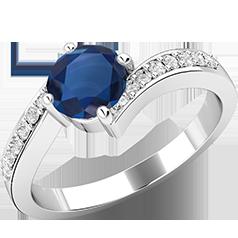 RDS409W-Inel cu Safir si Diamante Mici pe Lateral Dama Aur Alb 18kt cu un Safir Rotund Briliant in Centru si Diamante Rotunde Briliant Pe Margini in Setare cu Gheare, Inel Twist