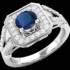 Inel cu Safir si Diamant Dama Aur Alb 18kt cu un Safir Rotund in Centru si Diamante Mici Rotund Briliant Imprejur si pe Lateral