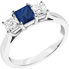 Sapphire and Diamond Ring for Women in 18ct white gold with a square cut sapphire in the centre and a princess cut diamond on either side, all in a claw setting