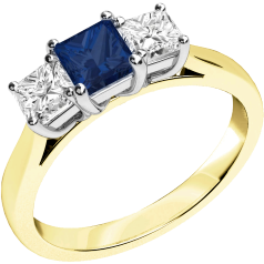 Sapphire and Diamond Ring for Women in 18ct yellow and white gold with a square cut sapphire in the centre and a princess cut diamond on either side, all in a claw setting