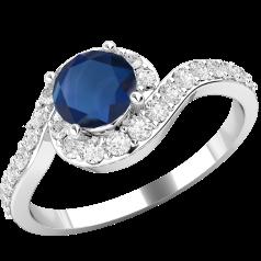 Inel cu Safir si Diamant Dama Aur Alb 18kt cu un Safir Rotund si Diamante Mici Rotund Briliant Imprejur Setare Gherare