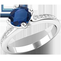 Inel cu Safir si Diamant Dama Aur Alb 18kt cu un Safir Central Setat cu Gheare si Diamante Rotunde