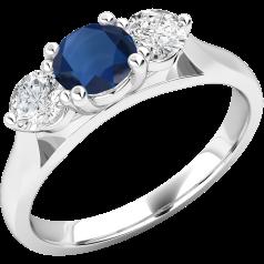 Inel cu Safir si Diamant Dama Aur Alb 18kt cu un Safir Rotund si 2 Diamante Rotund Briliant in Setare Gheare
