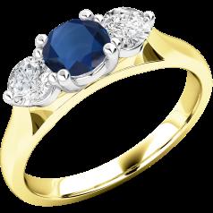 Saphir und Diamant Ring für Dame in 18kt Gelbgold und Weißgold mit einem runden Saphir und runden Brillanten auf beiden Seiten