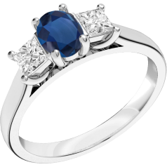 RDS492W - 18ct white gold ring with a central oval cut sapphire, and a princess cut diamond either side all in a claw setting