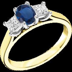RDS492YW - 18kt Gelb- und Weissgold Ring mit einem ovalen Saphir in der Mitte, und einem Princess Schliff Diamanten auf jeder Seite, alle in Krappenfassung