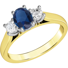 Sapphire and Diamond Ring for Women in 18ct yellow and white gold with an oval cut sapphire and a round brilliant cut diamond on either side, all in a claw setting