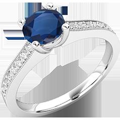 RDS497W-Inel cu Safir si cu Diamante Mici pe Lateral Dama Aur Alb 18kt Setat cu un Safir Central Rotund Briliant si Diamante Rotund Briliant pe Lateral