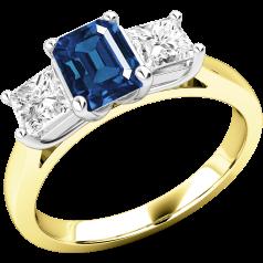 Saphir und Diamant Ring für Dame in 18kt Gelb und Weißgold mit einem Smaragd-Schliff Saphir und 2 Princess Schliff Diamanten in Krappenfassung
