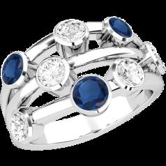 Saphir und Diamant Ring für Dame in 18kt Weißgold mit 5 runden Brillant Schliff Diamanten und 3 runden Saphiren in Zargenfassung