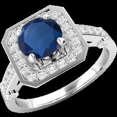 Inel cu Safir si Diamant Dama Aur Alb 18kt cu un Safir Rotund si Diamante Rotund Briliant Imprejur si pe Margini