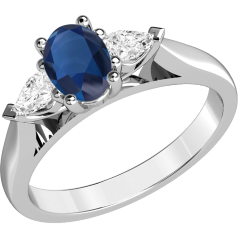 RDS523W-18ct white gold oval cut sapphire and pear shaped diamond 3 stone ring all in a claw setting