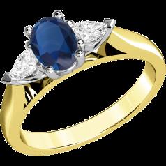 RDS523YW-18kt Gelb- und Weissgold 3-Steine Ring mit einem ovalen Saphir und Tropfen-Schliff Diamanten, alle in Krappenfassung