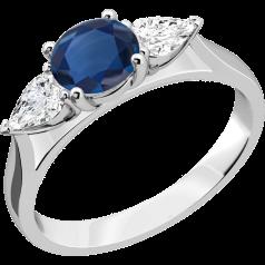 Saphir und Diamant Ring für Dame in 18kt Weißgold mit einem runden Saphir und 2 Tropfen-Schliff Diamanten in Krappenfassung