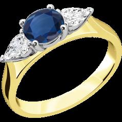 Saphir und Diamant Ring für Dame in 18kt Gelb & Weißgold mit einem runden Saphir und 2 Tropfen-Schliff Diamanten in Krappenfassung