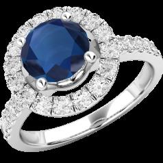Inel cu Safir si Diamant Dama Aur Alb 18kt cu un Safir Rotund si Diamante Mici Rotund Briliant Imprejur si pe Margini