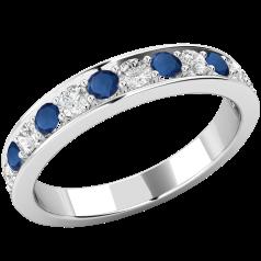 Inel cu Safir si Diamant Dama Aur Alb 18kt cu 7 Safire Rotunde si 6 Diamante Rotund Briliant in Setare Gheare