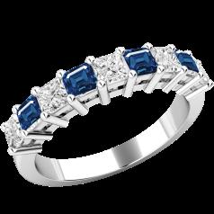 Inel cu Safir si Diamant Dama Aur Alb 18kt cu 5 Safire Patrate si 4 Diamante Forma Princess in Setare Gheare