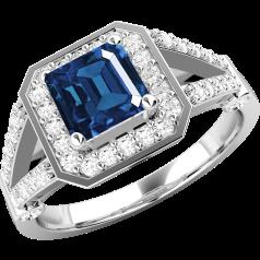 Saphir und Diamant Ring für Dame in 18kt Weißgold mit einem Safir und kleinen runden Brillanten