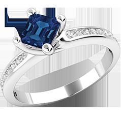 Inel cu Safir si Diamant Dama Aur Alb 18kt cu un Safir Forma Patrata si Diamante Rotunde