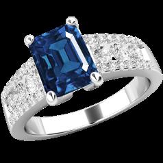 Inel cu Safir si Diamant Dama Aur Alb 18kt cu un Safir Taietura Smarald si Diamante Mici Rotund Briliant pe Lateral in Setare Gheare si Canal