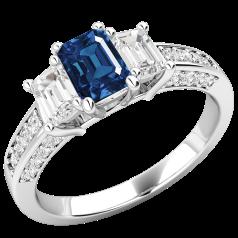 Inel cu Safir si Diamant Dama Aur Alb 18kt cu un Safir Taietura Smarald si 2 Diamante Taietura Smarald in Mijloc iar pe Lateral Diamante Mici Rotund Briliant