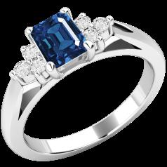 Inel cu Safir si Diamant Dama Aur Alb 18kt cu un Safir Taietura Smarald si Diamante Mici Rotund Briliant