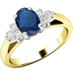 Sapphire and Diamond Ring for Women in 18ct yellow and white gold with an oval sapphire centre, and a cluster of 3 round brilliant cut diamonds on either side, all in a claw setting