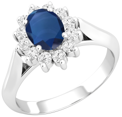 RDS566W - 18ct white gold cluster ring with an oval sapphire centre, surrounded by round brilliant cut diamonds all in a claw centre.