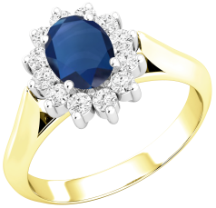 Sapphire and Diamond Cluster Ring for Women in 18ct yellow and white gold with an oval sapphire centre surrounded by round brilliant cut diamonds, all in a claw setting
