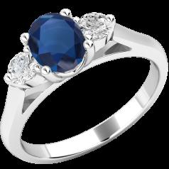 Inel cu Safir si Diamant Dama Aur Alb 18kt cu un Safir Oval si 2 Diamante Rotund Briliant in Setare Gheare