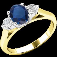 Saphir und Diamant Ring für Dame in 18kt Gelbgold und Weißgold mit einem ovalen Saphir und 2 runden Brillanten
