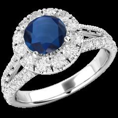 RDS571W-Inel cu Safir si Diamant Dama Aur Alb 18kt cu un Safir Rotund si Diamante Mici Rotund Briliant Imprejur si pe Margini,Design Clasic,Eleganță Modermă