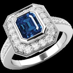 Inel cu Safir si Diamant Dama Aur Alb 18kt cu un Safir in Forma Octagon si Diamante Mici Rotund Briliant Imprejur si pe Margini