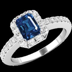 Inel cu Safir si Diamant Dama Aur Alb 18kt cu un Safir Taietura Smarald si Diamante Rotund Briliant Imprejur si pe Margini