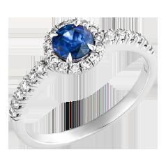 Inel cu Safir si Diamant Dama Aur Alb 18kt cu un Safir Rotund si Briliante Rotunde Imprejur si pe Margini in Stoc