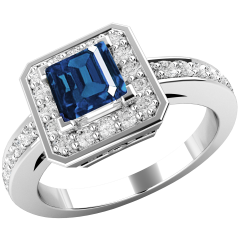 RDS587AW- 18ct white gold cluster with a square cut sapphire centre, and round brilliant cut diamonds surrounding it., all in a claw setting.